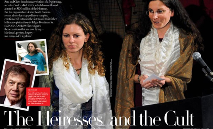 Sara and Clare Bronman in Vanity Fair feature story with Raniere and father Edgar Bronfman pictured in thumbmail photos